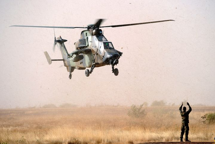 A Tiger helicopter lands at the Mopti airport, in Sevare, on Feb. 2, 2013.