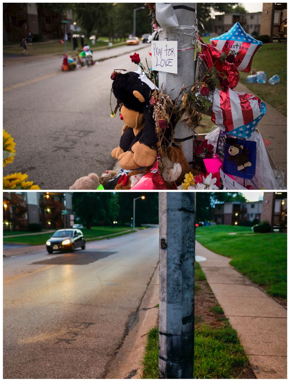 A combination picture shows a makeshift memorial near the site where unarmed teen Michael Brown was shot dead along Canfield