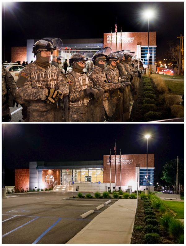A combination picture shows members of the National Guard standing guard outside the Ferguson Police Department where demonst