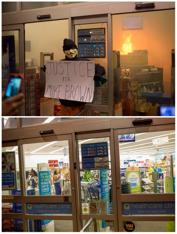 A combination picture shows a protester holding a sign outside a Walgreens drug store which was set alight after a grand jury