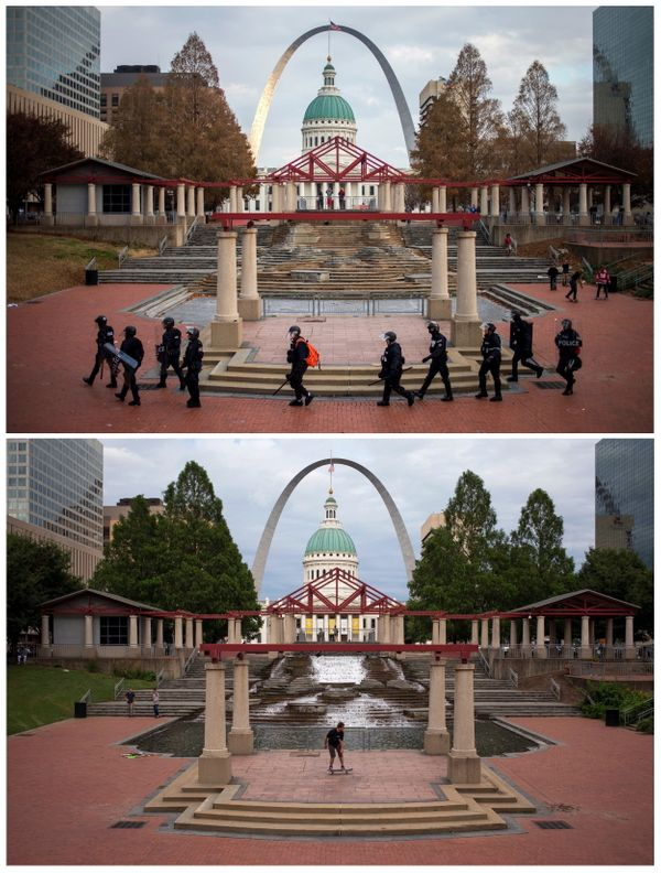 A combination picture shows the Gateway Arch monument and Old Courthouse building in the background as police in riot gear wa