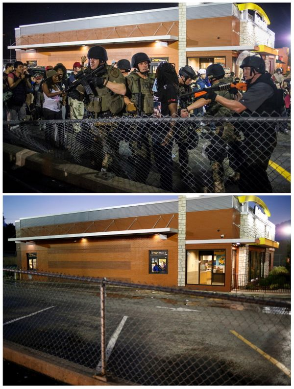 A combination image shows St. Louis County policemen detaining a demonstrator in a McDonald's parking lot during a protest ag