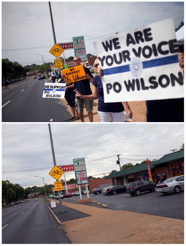 A combination picture shows supporters of officer Darren Wilson holding placards outside Barney's Sports Pub in St. Louis, Mi