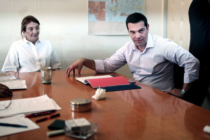 <span>Greek Prime Minister Alexis Tsipras meets with Minister of Immigration Tasia&nbsp;</span><span>Christodoulopoulou at th