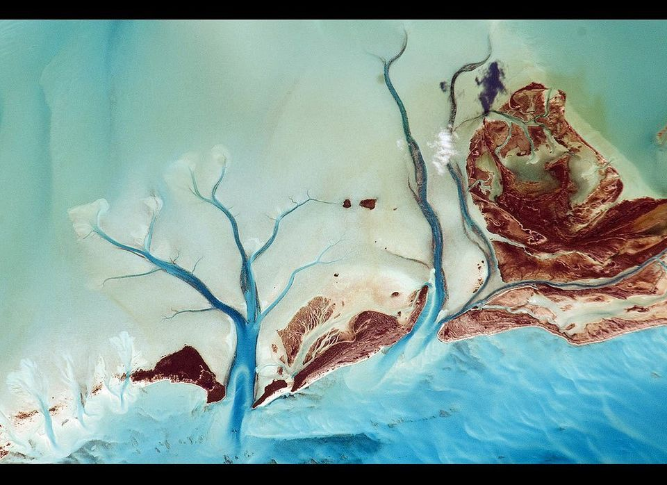 This astronaut photograph taken on Nov. 27, 2010, provides a view of tidal flats and channels near Sandy Cay, on the western
