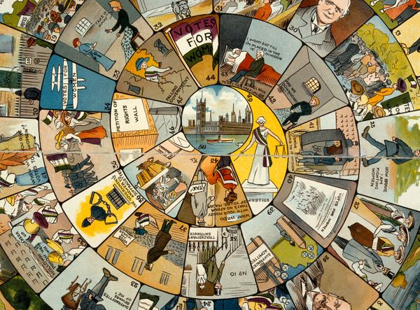 A satirical board game, produced by English suffragettes in 1910 depicts the struggles women were forced to confront. Players