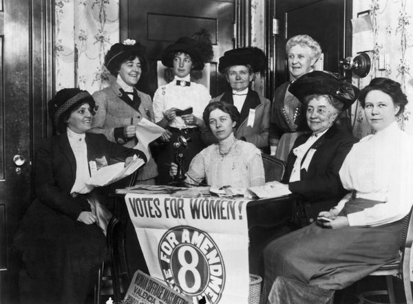 Women assembling in San Francisco to to secure passage of a California state amendment granting women the right to vote.