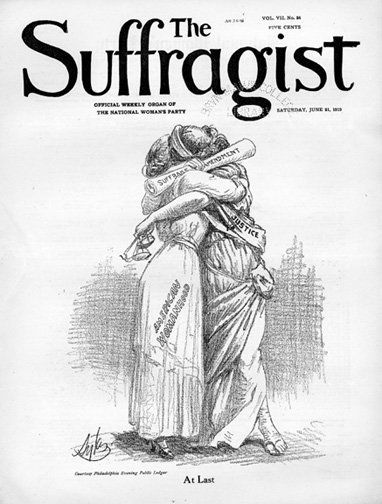 """At Last."" So reads the cover of The Suffragist magazine in June, 1919, printed following the ratification of the 19th Amendm"