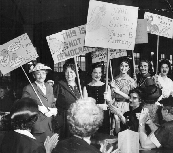 In 1957, Colorado women evoked the early suffrage movement in protest of local political groups that still did not allow wome