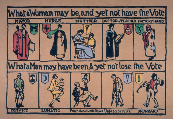 Produced by a suffrage group in London, this 1909 poster highlights the double standard applied to men and women, and just ho