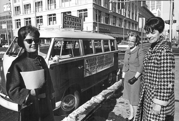 Women Voters League Officials offer rides to voters in 1965.