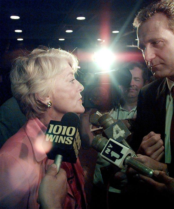 Geraldine Ferraro, former candidate for vice president, votes in 1998.