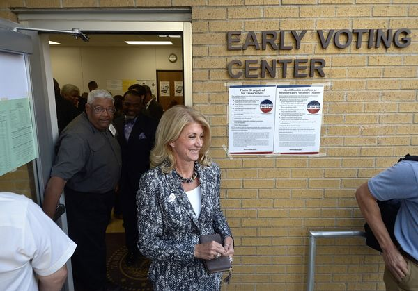 Gubernatorial candidate Wendy Davis votes in Texas on Oct. 20, the first day of early voting in that state.