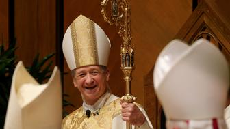 CHICAGO, IL - NOVEMBER 18: Chicago Archbishop Blase Cupich smiles after being installed as the ninth archbishop of Chicago of at Holy Name Cathedral on November 18, 2014 in Chicago. Cupich was named in September to succeed the retiring Cardinal Francis George by Pope Francis.  (Photo by Antonio Perez-Pool/Getty Images)