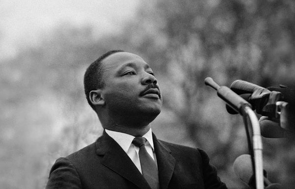 Dr. Martin Luther King Jr. speaking to 25,000 civil rights marchers in Montgomery, 1965.