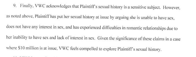 An excerpt from a court filing by Virginia Wesleyan College asking for a rape victim's sexual history.
