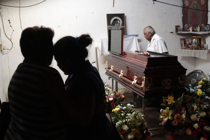 <span><span>Relatives and friends attend the wake of Miguel Angel Jimenez Blanco in Guerrero state.&nbsp;</span></span>