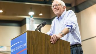 KENNER, LA - JULY 26:  Democratic presidential candidate Senator Bernie Sanders (I-VT) speaks to guests at the Louisiana Rally with Bernie Sanders at Ponchartain Center on July 26, 2015 in Kenner, Louisiana.  (Photo by Josh Brasted/Getty Images)