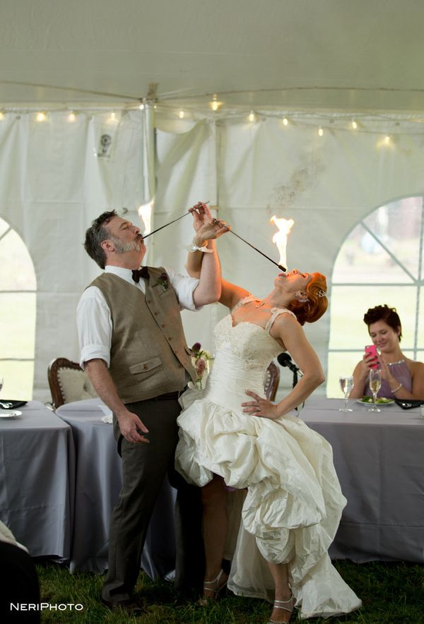 """""""Michael and Jackie surprised their guests with a fire-eating stunt during their reception."""" - Neringa Ridges of <a href=""""htt"""