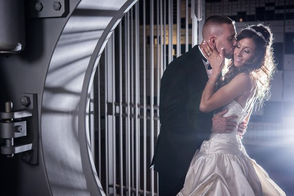"""""""Corinne and Jonathan celebrated their wedding in a converted bank and vault in Albany, New York."""" - Kevin Ferguson of<"""