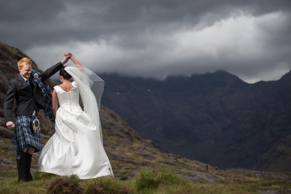 """""""A shot from Kay and Adam'€™s elopement to Loch Coruisk on the Isle of Skye, Scotland. Having their first dance among the mou"""