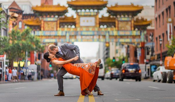 """""""Brian and Laurie kiss immediately after their first look. Traffic in the middle of Washington D.C.'s Chinatown area stopped"""