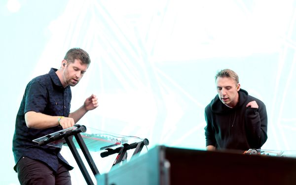 """ODESZA's set sparkled with colorful visuals to the tune of """"Say My Name."""" The producer duo, Harrison Mills and Clayton Knight"""