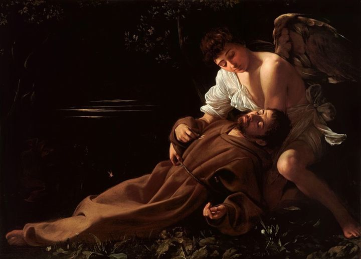 <span>Caravaggio, Saint Francis of Assisi in Ecstasy, 1595&nbsp;</span>