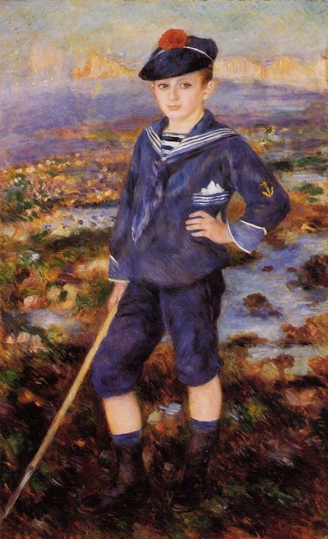 paintings renoir famous pierre auguste even portrait boy 1883 artists sailor literally yport jeune plage sur canvas marinara alla oil