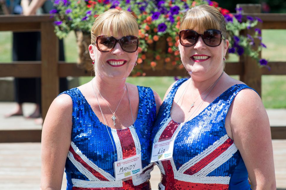 Mandy Vazquez, left, and Liz Blower came all the way from London to make the Twins Days Festival in Twinsburg, Ohio. The last