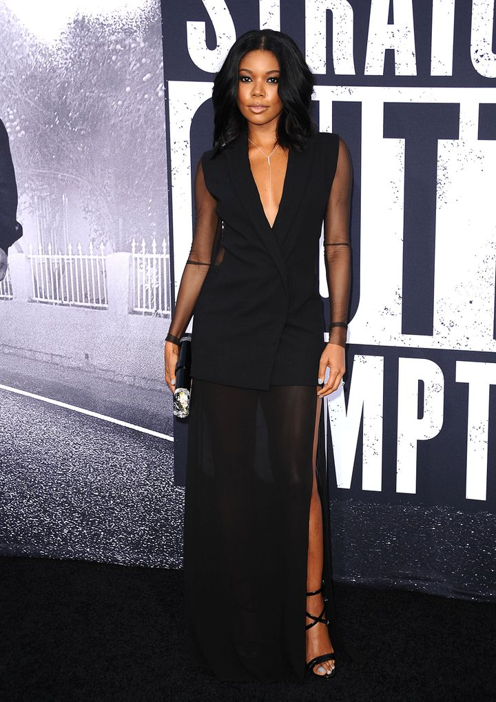 Gabrielle Union Is Ultra Chic In Sheer Paneled Dress
