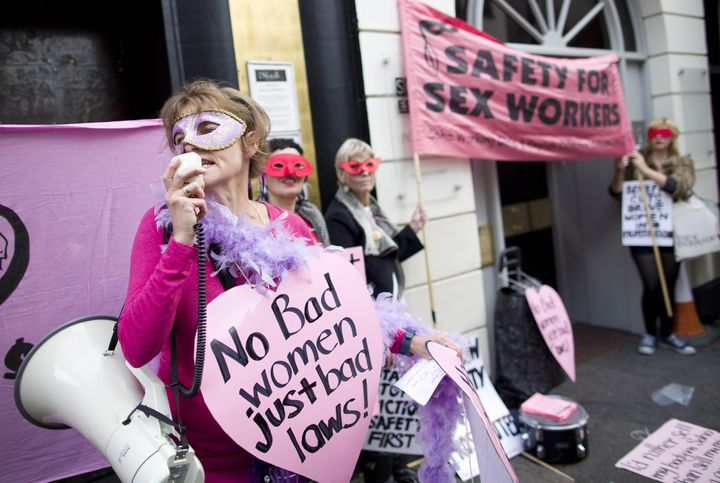 Sex workers and their supporters demonstrate in London's Soho district in October 2013 to protest the closure of pr