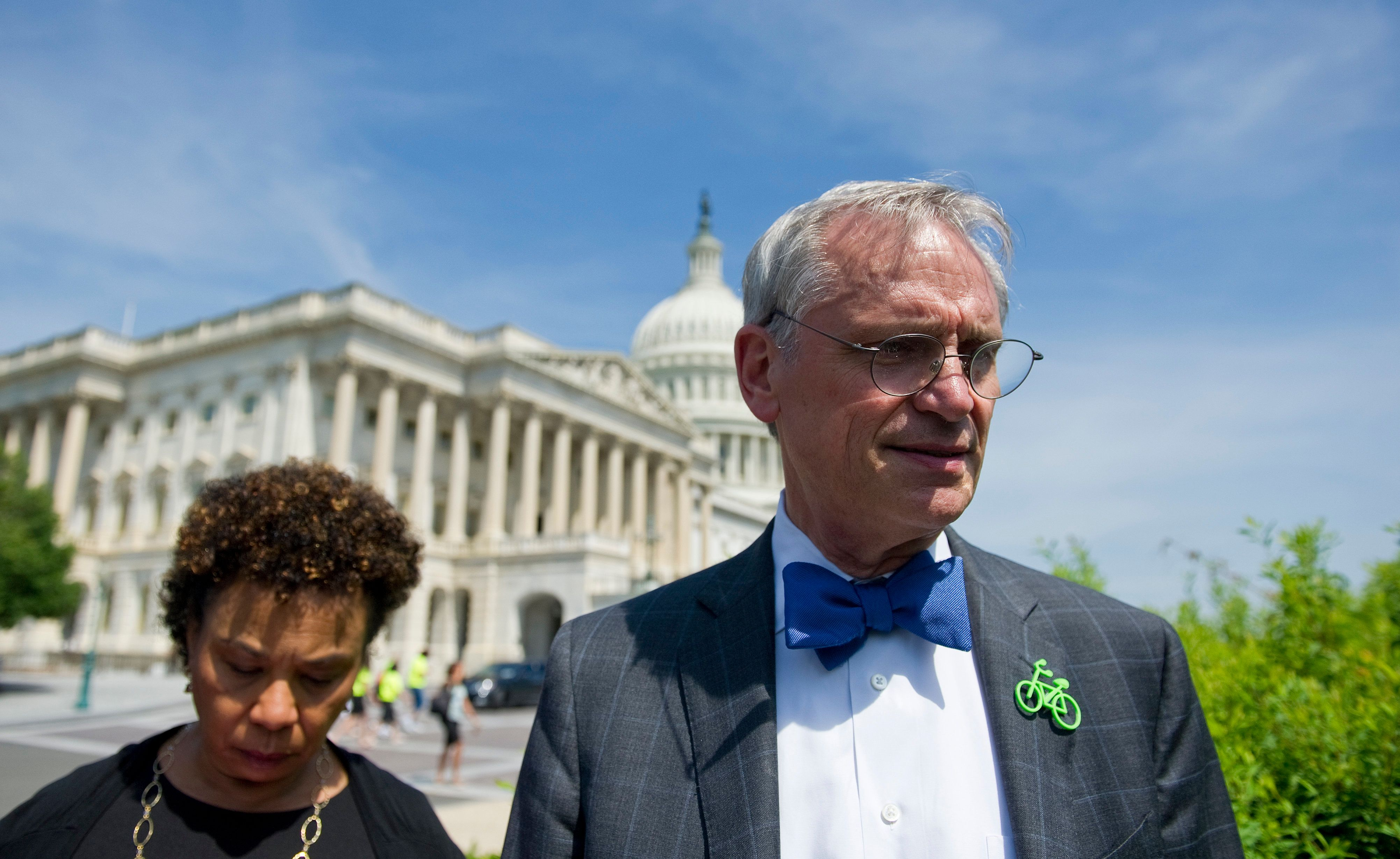 UNITED STATES - JUNE 5: Rep. Barbara Lee, D-CA., and Rep. Earl Blumenauer, D-OR., before a press conference on new marijuana legislation on June 5, 2013 at the House Triangle (Photo By Douglas Graham/CQ Roll Call)