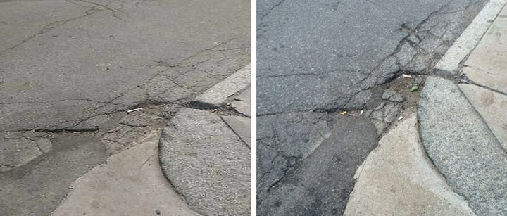 <span>Left photo: City crews reported filling this pothole on Tremont June 19</span><span>. Right photo: NECIR took this phot