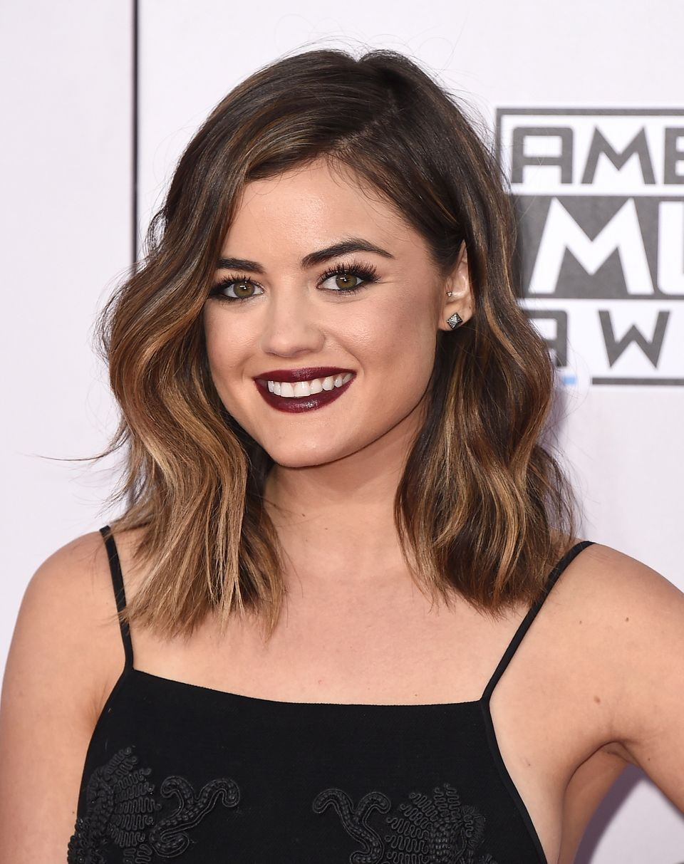 Lucy Hale arrives at the 42nd annual American Music Awards at Nokia Theatre L.A. Live on Sunday, Nov. 23, 2014, in Los Angele