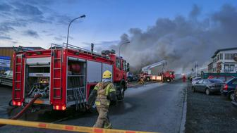 Auto repair shop on fire in suburb of Reykjavik, Iceland