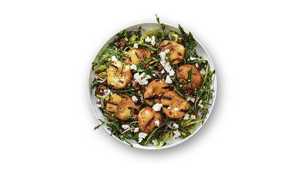 """This grilled-peach and arugula salad is Gayle's favorite,"" says Oprah. ""Whenever she comes over, we do peach cobbler, peach"