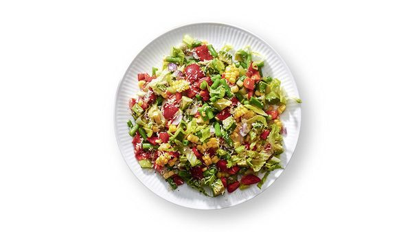 "Oprah eats a salad every day for lunch, and this chopped salad is her favorite. ""The vegetables are all cut fine, fine, fine."