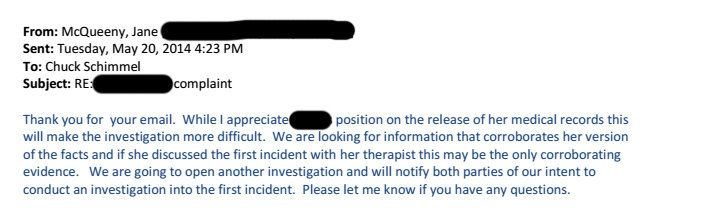 An email from a university administrator handling the case to the attorney representing the female student who reported being