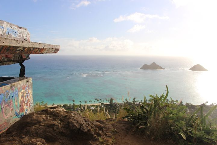 Dancers performed a haka ritual dance at the top of the Lanikai Pillboxes hiking trail