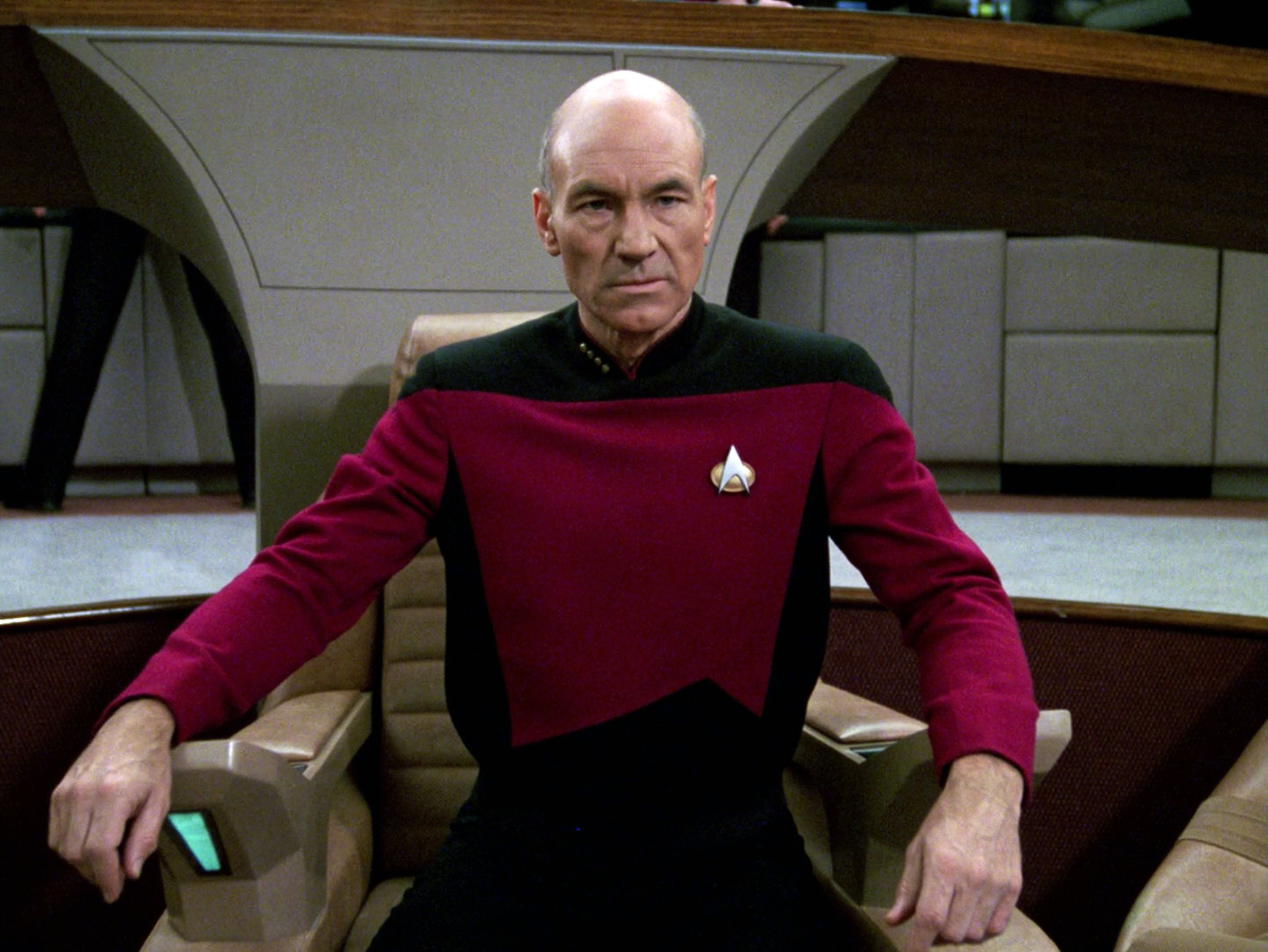 LOS ANGELES - JANUARY 8: Patrick Stewart as Captain Jean-Luc Picard in the STAR TREK: THE NEXT GENERATION episode, 'The Hunted.' Season 3, episode 11.  Original air date, January 8, 1990.  (Photo by CBS via Getty Images)
