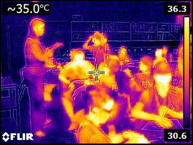 "<p><span style=""font-family: Arial, Helvetica, sans-serif; font-size: 14px; line-height: 20px; background-color: #eeeeee;"">Thermal image taken in classroom at Ilima Intermedate in Ewa Beach on September 12, 2014. The Celsius temperature reading of 35.0 in the upper left corner is equal to 95 degrees Fahrenheit.</span></p>"