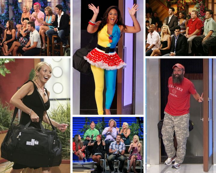 Clockwise from top left: The Season 9 cast, Candice, the All-Stars cast, Donnie, the Season 14 cast and April are seen outsid