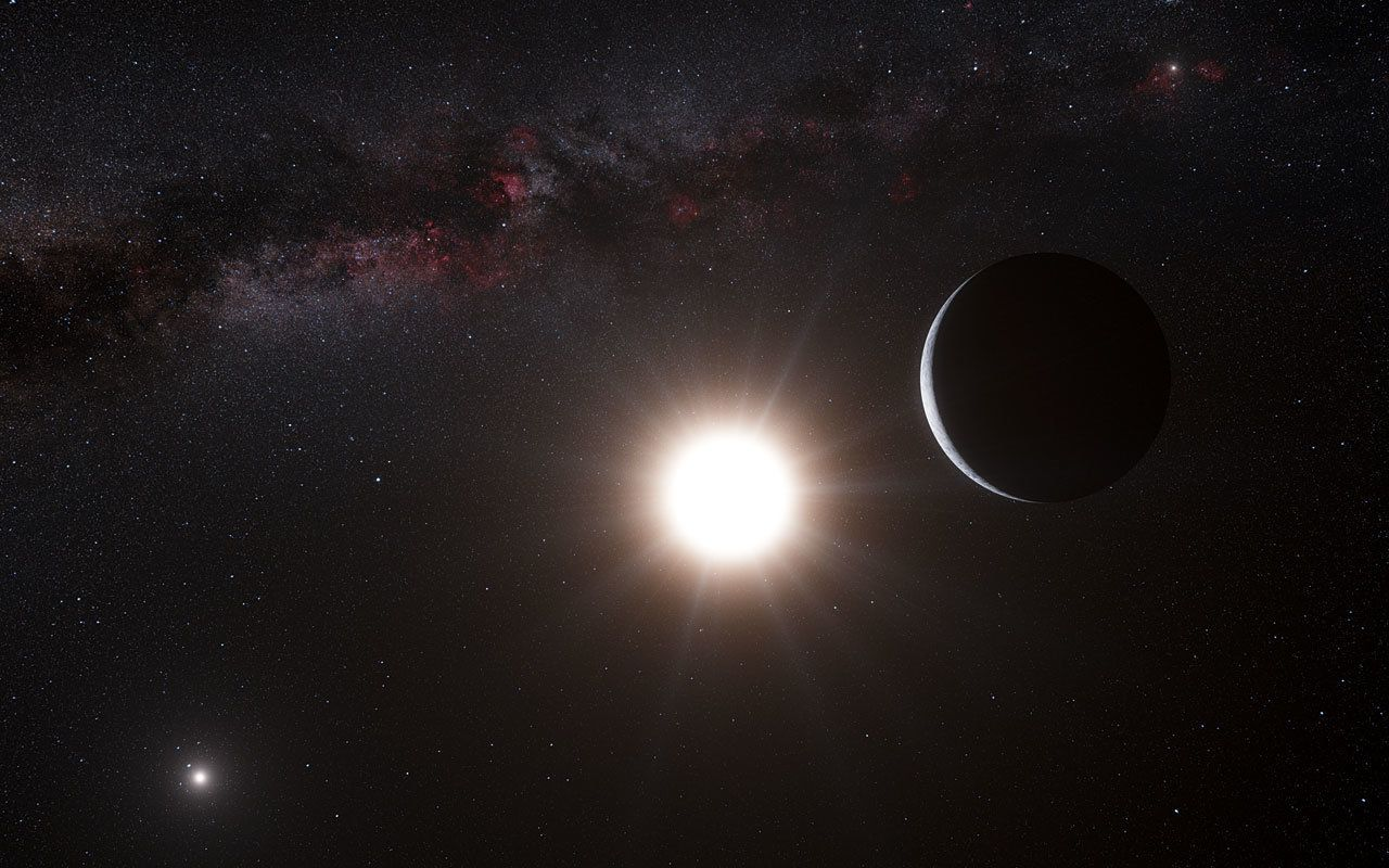 Artist's rendition of a star and its planet.