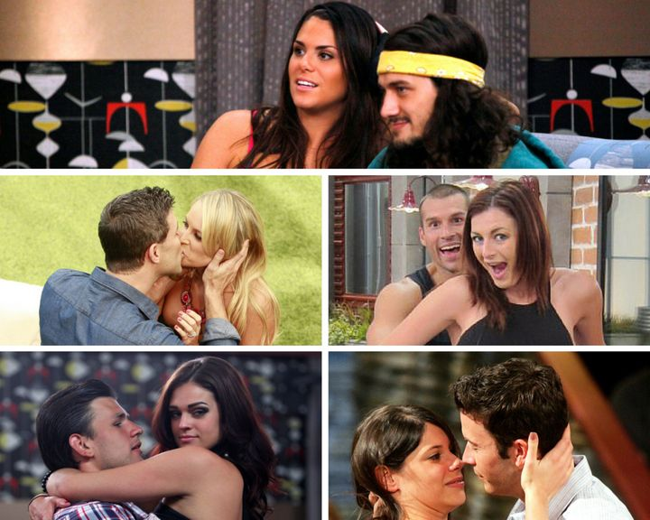 Clockwise from top: Amanda and McCrae, Brendon and Rachel, Sarah and James, Jeremy and Kaitlin, and Jeff and Jordan engage in