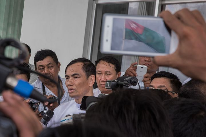 A senior USDP member holds a press conference in Naypitaw, Myanmar, on Aug. 13, 2015.