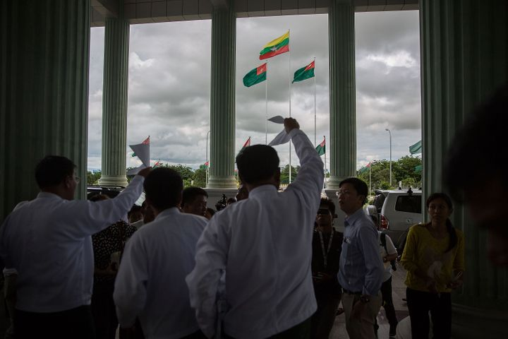 Senior members of the USDP hold a press conference at the USDP headquarters in Naypyitaw, Burma, on Aug. 13, 2015.