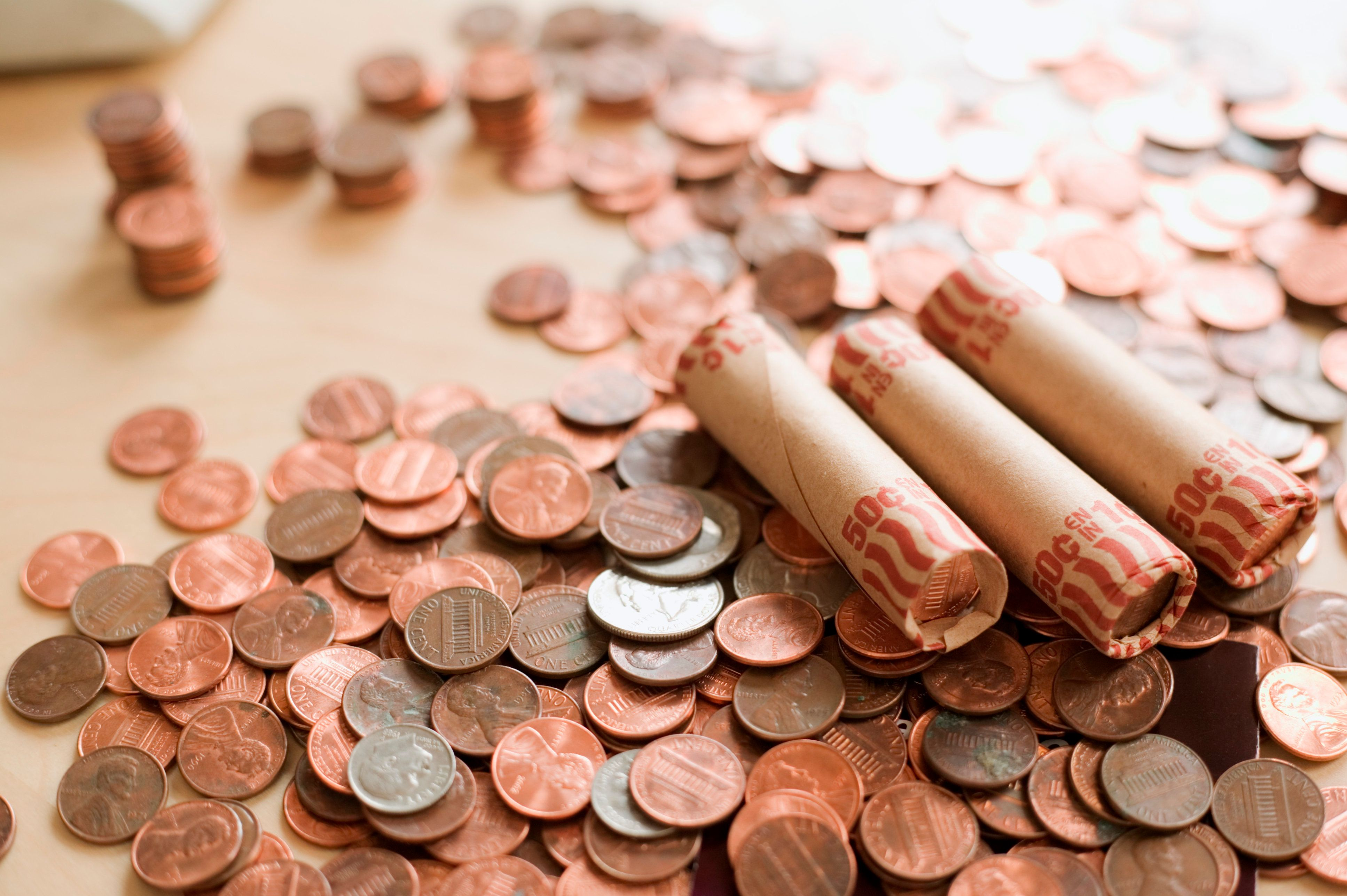 Coins and rolled coins