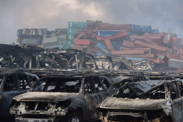Cars are burnt out after the explosions at a warehouse in Binhai New Area in Tianjin, on Aug. 13, 2015.
