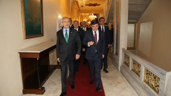 <p>Turkish Prime Minister and leader of AKP Ahmet Davutoglu, right, and CHP leader Kemal Kilicdaroglu walk together at the Ankara Palas Hotel in Turkey on Aug. 13, 2015.</p>